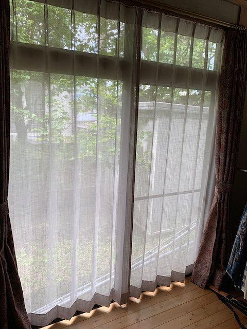 和室縁側のレースカーテン